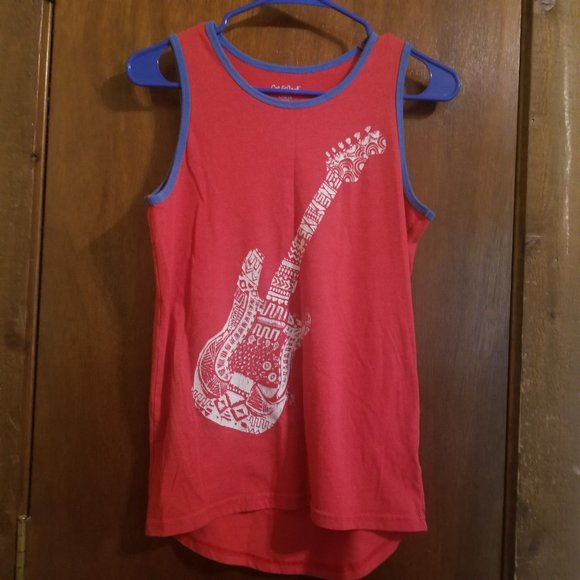 Boy's Tank Top with Guitar on front Size L 12/14